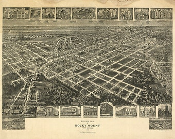 Map of Rocky Mount, Edgecombe and Nash Co. North Carolina N.C. 1907.  Restoration Hardware Home Deco Style Old Reproduction