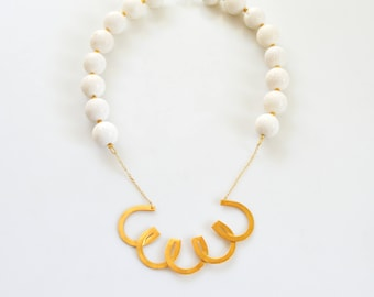 White Coral Statement Necklace Chic Necklace Gold Necklace Bijoux Contemporary Jewelry Made in Greece Coral Summer Jewelry Gold White Jewel