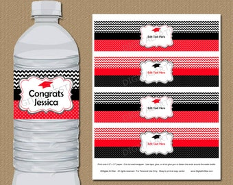 Graduation Water Bottle Labels - PRINTABLE High School Graduation Bottle Wraps - College Graduation Party Ideas - Red Black Chevron G3