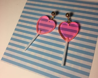 Neon Pink Clear Kawaii Heart Shaped Valentines Faux Candy Lollipop Silver Tone / Gold Tone Hook or StudEarrings