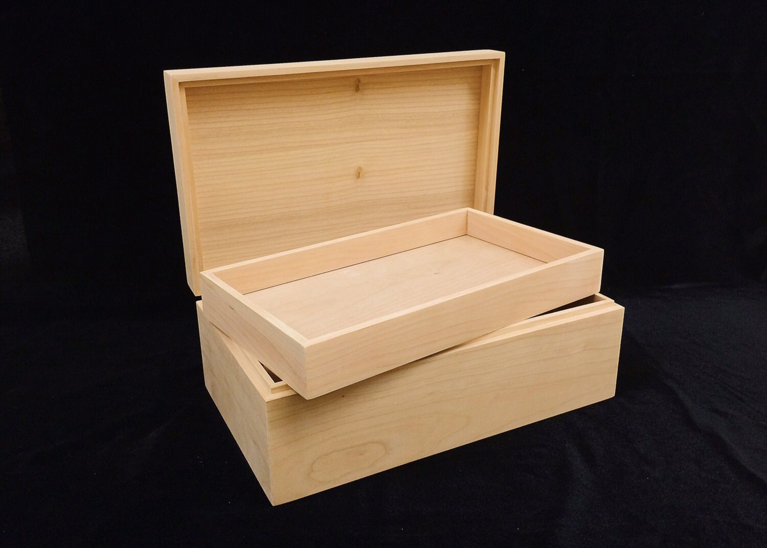 Unfinished Wood Box With Hinges Amp Tray 10 X 6 X 3 3 4