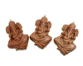Goldstone Ganesha Pendant with Electroplated 24k Gold Edge (S95B14-17)