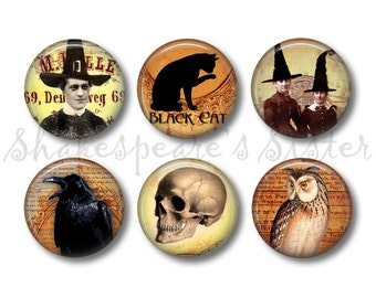 Gothic Decor - Fridge Magnets - Halloween Magnets - 6 Magnets - 1.5 Inch Magnets - Kitchen Magnets