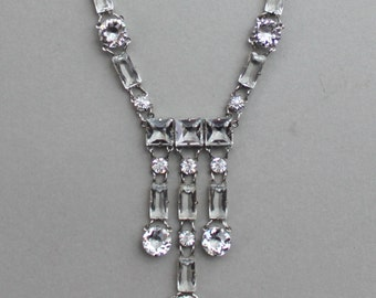 Art Deco Sterling Open Backed Paste Crystal Necklace / Gatsby Wedding