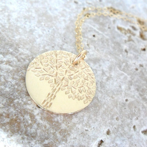 Tree of Life | Hand Stamped Tree | Engraved Tree | Tree Pendant | Gold Disc | Gold Tree | Gold Fill Jewelry | Family Jewelry