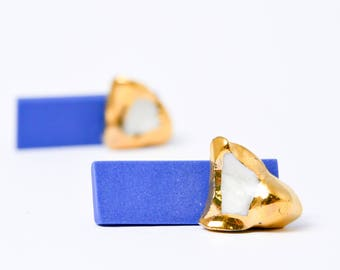 OOAK Blue Earrings, Gold Earrings, Ceramic Earrings, Ceramic Jewelry, Bar Stud Earrings, Geometric Earrings, Double Sided Earrings, Handmade