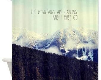 Mountain Shower Curtain,landscape, typography,mountains,aqua home decor,nature,scenic,bathtub,snow