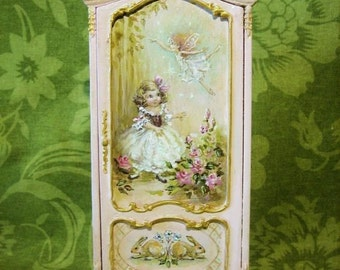 Pink Hand-painted original art Finding Fairies Armoire cupboard  in Antique - layaway - Jill Dianne Dollhouse Miniatures