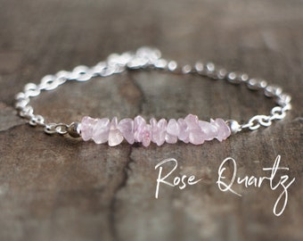 Rose Quartz Bracelet, Raw Crystal Bracelet, Bridesmaid Gifts, Heart Chakra Bracelet, Rose Quartz Jewelry, Birthday Gifts for Her, Dainty