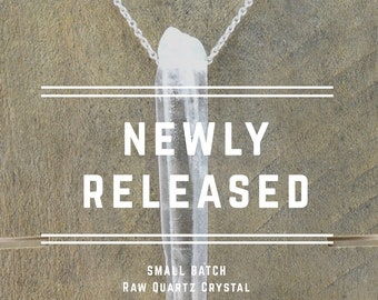 Floating Raw Quartz Crystal Necklace, Sterling Silver, Dainty