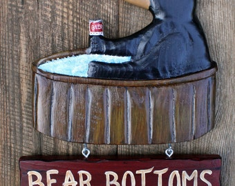 Hot Tub  Sign, Spa Sign,  hand carved bear in a hot tub with his drink - Bear Bottoms Allowed, Bear Bottoms Required