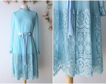 Vintage Pleated Lace Dress - Romantic Robin Blue Vintage Dress - Long Sleeved Lace Dress by Miss Elliette - Size Small