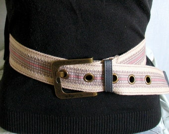 Vintage Cotton Belt edc belt a Fashionista Statement Piece can fit  hippie gypsy belt Prep School Fabric Belt Belt Medium