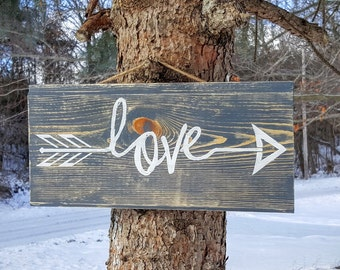 Love with Arrow Sign, Hanging Wooden Arrow Sign, Love Sign, Rustic Love Arrow, Love Arrows, Woodland Nursery Decor, Love Sign, Wood Signs