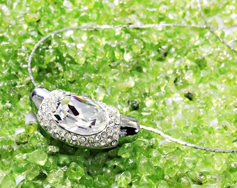 New Fashion Swarovski Crystal Gemstone Jewelry Pendant  Rhodium Plated  Chain Clear Crystal Necklace