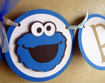 Cookie Monster Party Banner, Cookie Monster Birthday Party, Cookie Monster Party Decoration, Sesame Street Banner, Cookie Monster Party