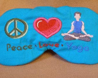 Embroidered Eye Mask, Sleeping, Cute Sleep Mask for Kids or Adults, Sleep Blindfold, Eye Shade, Peace, Slumber Mask,Yoga Design, Handmade