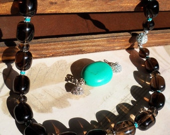 Smoky Quartz Necklace with Removable Turquoise Pendant and Swarovsky Crystal Clasp, Handmade Jewelry, 375