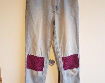 SALE!! Crochet patch MOM Jeans W26 L36