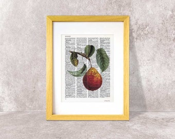 Pear fruit print-Kitchen wall art-Pear fruit dictionary print-Pear fruit book art-botanical prints-home decor-rustic print-NATURAPICTA-DP093