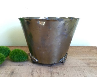 Vintage Brass Cachepot, Planter, Colonial Virginia, Hand Forged