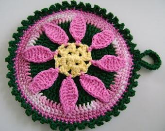 Crocheted Hot Mat Trivet Pot Holder Featuring Single Pink Poinsettia