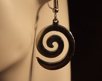 Spiral earrings made with Australian Pewter and Surgical Steel hook