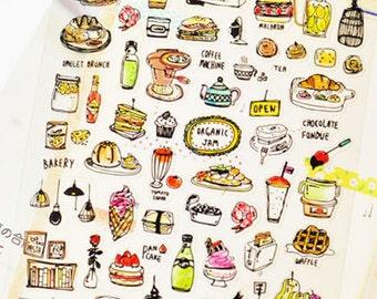 Cute Stickers, Food Sticker, Korean Sticker, Scrapbooking
