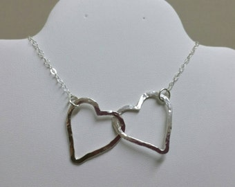 2 Hearts Necklace, Silver Connected Hearts, Heart Pendant, Joined Hearts Necklace, Linked Silver Hearts Necklace, Valentines Day Gift