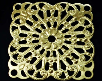 Vintage Set of 10  Brass Stampings, filigree Jewelry Findings.made in USA /cc2