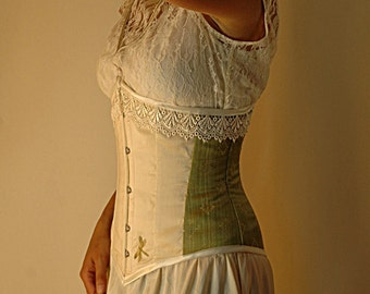 Custom steel boned underbust corset with embroidered detail