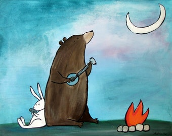 8x10 Campfire Bear Camping Woodland Animals Kids Art Print Wall Nursery Decor Camping Wall Art Nursery Wall Art Boy Childrens Illustrations
