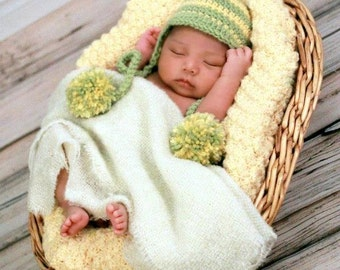 Child BRIM Hat Easy CROCHET PATTERN in 5 sizes 0-10 years, Baby Brim EarFlap With Pompons