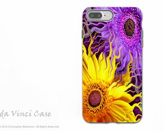 Purple and Yellow Daisy - Artistic iPhone 7 PLUS - 8 PLUS Tough Case - Dual Layer Protective Floral 7 Plus Case - Daisy Yin Daisy Yang