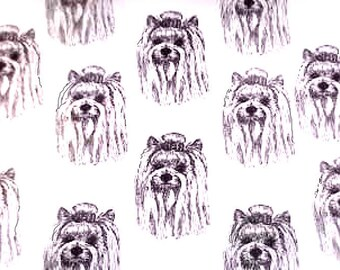 """YORKSHIRE TERRIER Dog Fabric YORKIE Dog Fabric Best All Cotton Ever """"Feels Like Silk"""" by Northcott for Hot Diggity Dog Craft Supplies Tools"""