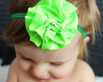 Lime Green Baby Bow - Green Baby Headband -  Bright Green Baby Photo Prop - Baby Hairbows - Newborn Headband - Infant Headband