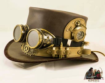 Steampunk leather decorated top hat time traveller with goggles