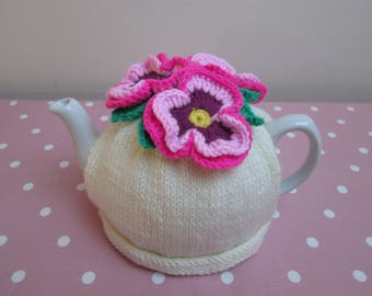 Hand Knitted Tea Cosy With Crochet Pansies Flowers ~ Ready To Ship