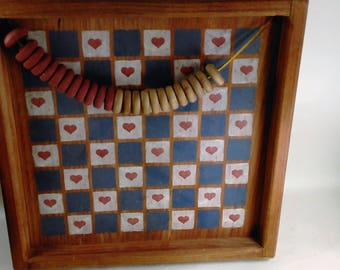 Vintage Hand Crafted Checker Pieces and Board/Wall Art/Excellant Condition (E)
