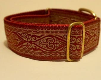 "Burgundy Canterbury Patterned 1 1/2"" Martingale Collar"