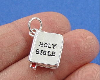 Holy Bible Charm - Silver Plated Bible Charm for Necklace or Bracelet
