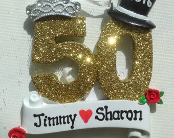 33% Off Personalized 50th Wedding Anniversary, Golden Anniversary Wedding Ornament , Favor