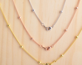 1pc bead chain necklace, gold/rose gold/silver plating, 18inch bead chain necklace