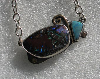 Boulder Opal Necklace With Spiral Sterling and 14k Gold