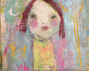 Whimsy Art - Childlike Art - Raw Art - Art Brut - Whimsical Painting – Kids Wall Art - Naive Child Art - Girls Nursery Art