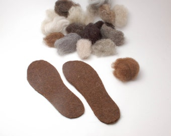 Organic wool felt insoles, wool boot liners