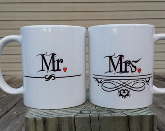 Gothic style Mr and Mrs couple's coffee mugs