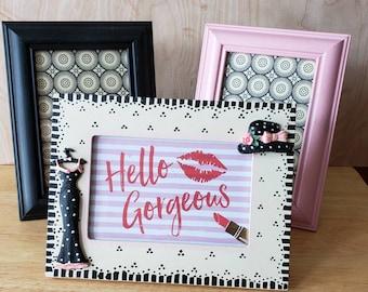 Vintage Picture Frames,  Girly Picture Frames,  Set of 3 Frames,  Girls Decor, Bedroom Decor, Pink Black and White Frames