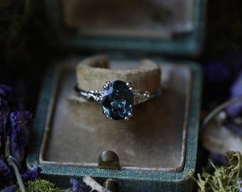 London Blue Topaz Ring, Diamond Alternative Engagement Ring, Custom Engagement Ring, 14k White Gold Leaf Engagement Ring, Rose Gold Ring.