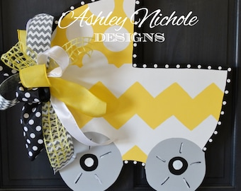 Bringing Home Baby Carriage Door Hanger, Door Decoration, Nursery Decor